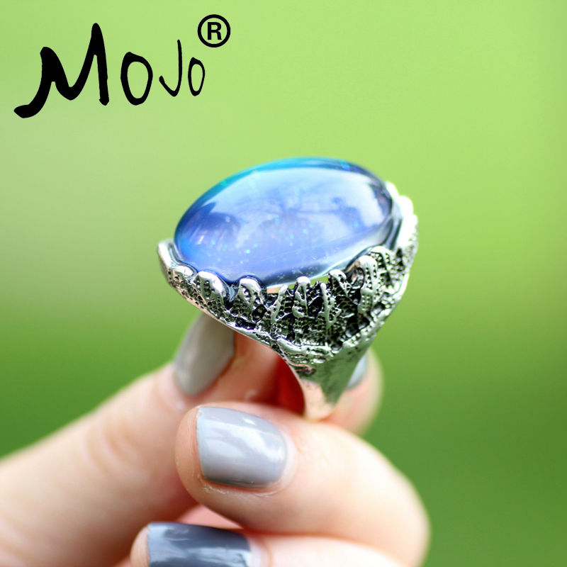 Mojo Vintage Bohemia Retro Color Change Mood Ring Emotion Feeling Ring cambiable Anillo de control de temperatura para mujeres MJ-RS057