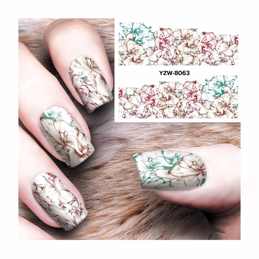 YZWLE Hot DIY Designs Nail Art Beauty Flower Water Stickers Nails Decoration Decals Tools 8063