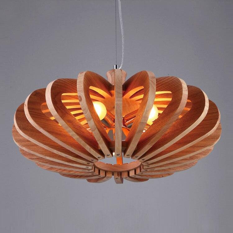 Wooden Pumpkin pendant lights Retro Living Room Restaurant Cafe Garment Shop Loft Garden Single Head pendant lamps ZA