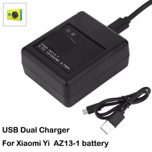 Charger for Xiaomi yi battery yi Li-ion AZ13-1 batteries USB 2 sides Charger For xiaoyi xiao mi yi  Action camera accessories стоимость