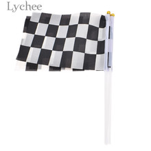Lychee 5pcs Racing Flag Black White Checkered Birthday Party Supplies Festival Decoration China