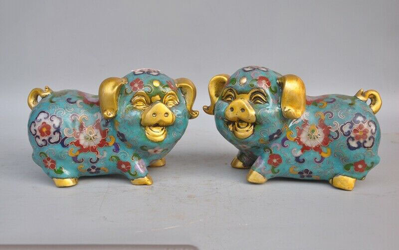 wedding decoration 6Chinese Feng Shui bronze Cloisonne enamel Gilt wealth animal Pig swine statuewedding decoration 6Chinese Feng Shui bronze Cloisonne enamel Gilt wealth animal Pig swine statue