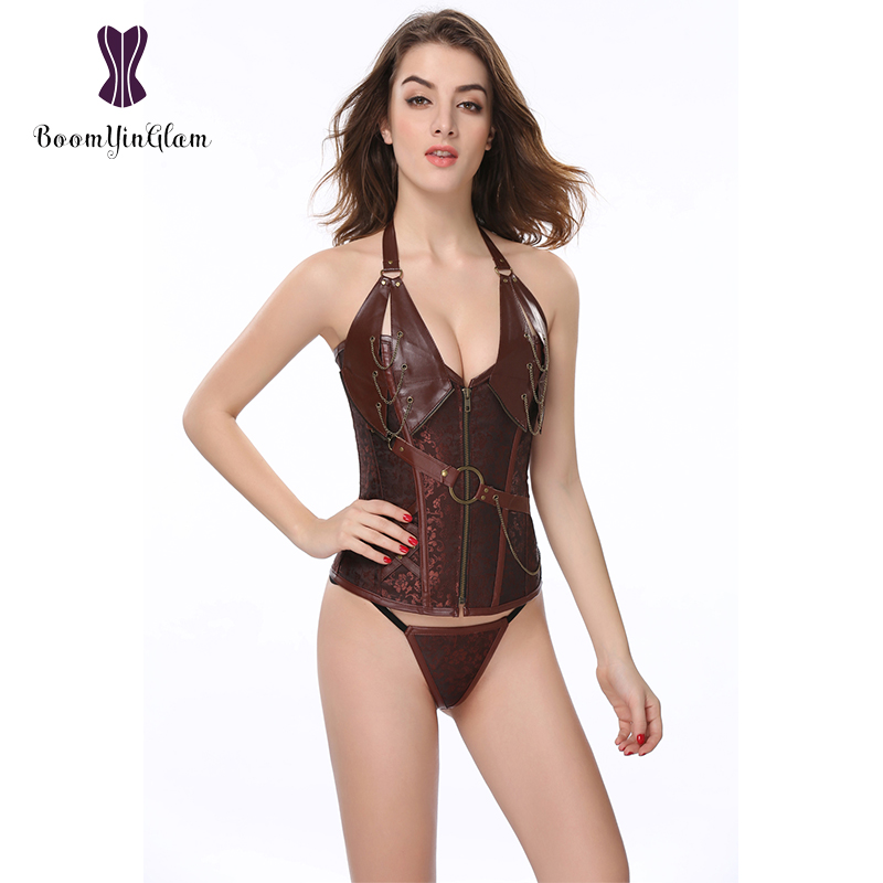908# High quality zipper front Halter Gothic corset metal chain decorated brown steampunk corset leather corset