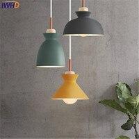 간단한 스타일 나무 droplight 현대 led 펜 던 트 전등 다이닝 룸 컬러 철 매달려 램프 홈 실내 조명
