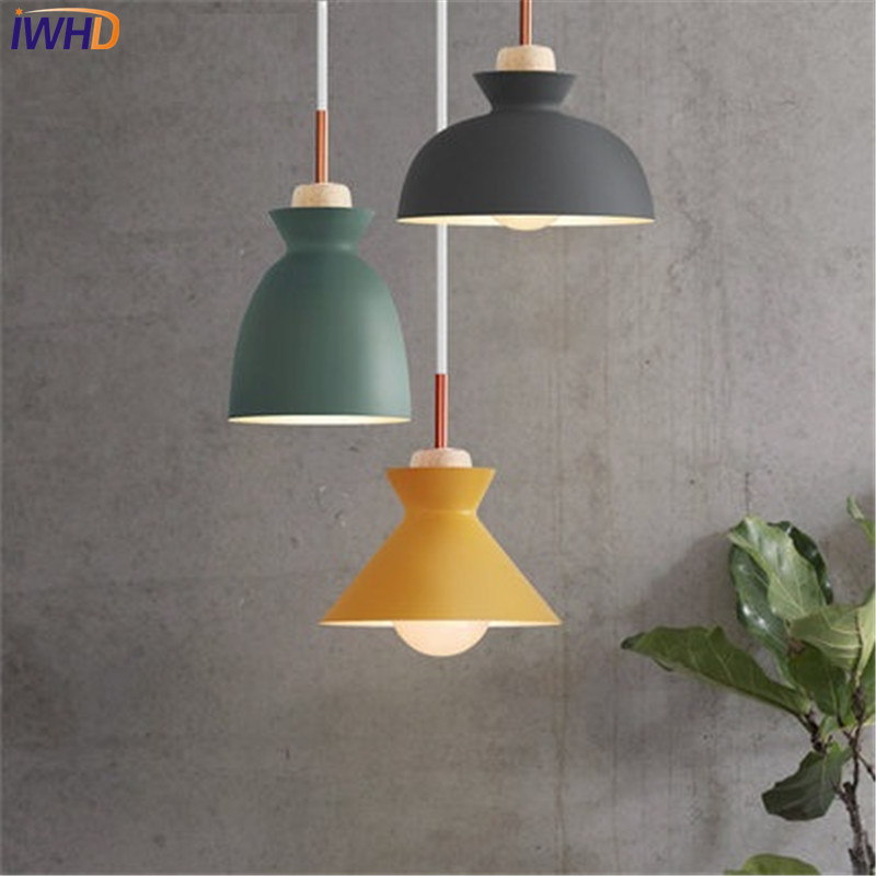 diy simple color plastic droplight modern led pendant light fixtures for dining room bar hanging lamp indoor lighting Simple Style Wood Droplight Modern LED Pendant Light Fixtures For Dining Room Color Iron Hanging Lamp Home Indoor Lighting