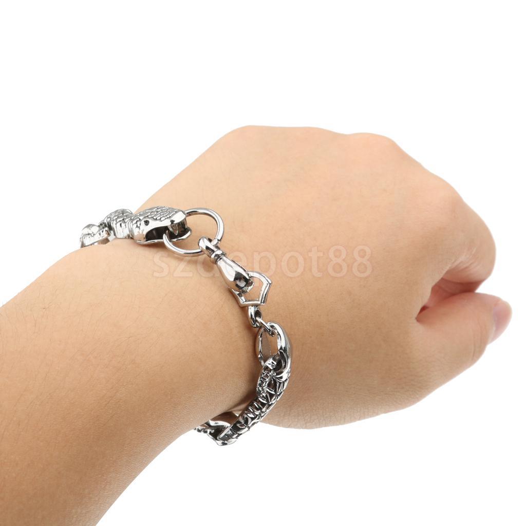 Steampunk Gothic Fashion Mens Snake Bracelet Bangle Jewllery Antique Silver