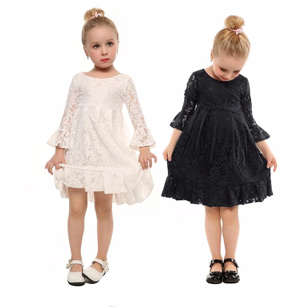36d8c792f0 Elegancki Dzieci Dziewczyny Black White Lace Suknie Ślubne Party Ubrania  Prezent Urodzinowy