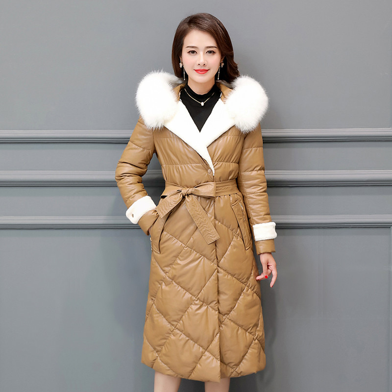 Women Down Cotton Jacket Winter Long PU   Leather   parkas 2018 New Fashion Large Size Coats Hooded Fur Collar Female Outerwear N571