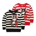 Niñas Bebés niños Camisetas de Manga Larga de Algodón Camisetas de Rayas de Dibujos Animados Muchachos de Las Muchachas de tocar fondo Camisas Tops 18 M 2 4 6 7 8 años