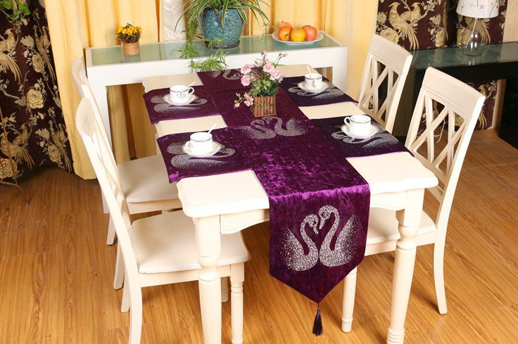 Awesome Luxury Sequin Purple Table Runner Gold Table Cloth Runner Placemat  Decorations Bed Runners Velvet Swan Tassel Home Decor. In Table Runners  From Home ...