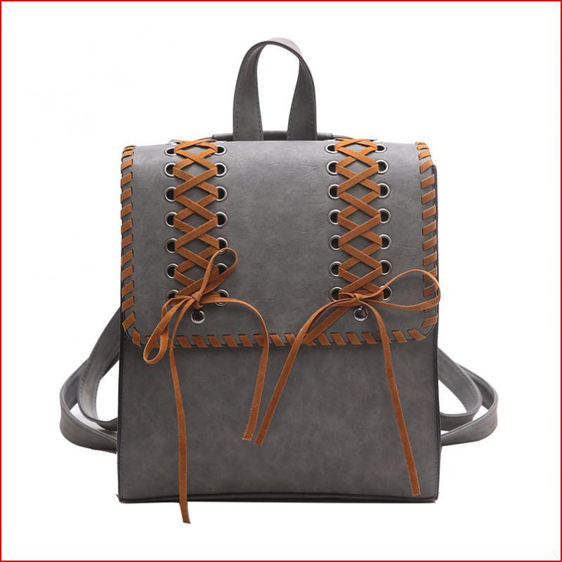 Women Vintage Backpack Retro School Girls Bag Shoelace Knitting PU Leather Backpack Travel Bag Mochila Escolar