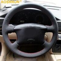 AOSRRUN Car accessories genuine leather car steering wheel cover For Volkswagen Passat B5 Golf 4 Skoda Octavia 1999 2005