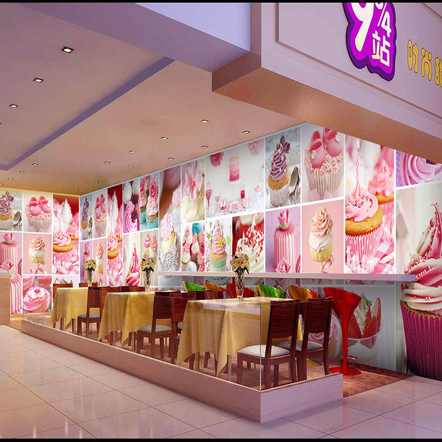 Free Shipping Sweet And Cute Cartoon Cake Wallpaper Background Dessert Bakery Cafe Kitchen Large Mural Custom