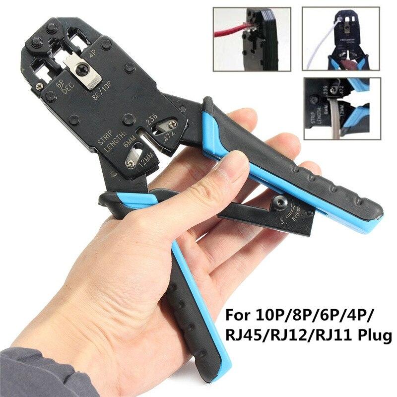 Modulare Netzwerk Kabel Crimper Crimpen Zange Werkzeug Draht Cutter Stripping Kit Für 10 P/8 P/6 P /4 P/rj45/rj12/rj11 Stecker Reine WeißE Zangen