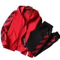 AmberHeard Men Sportsuit Set Spring Fashion Hooded Sweatshirt+Pants Sportswear Two Piece Set Tracksuit For Men Fitness Clothing
