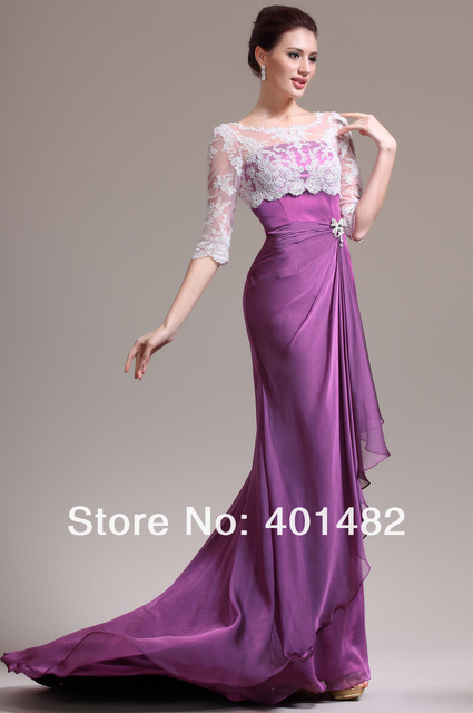New Charming Round Neck Half Sleeves Lace Chiffon Mother of the Bride Dress Freeshipping