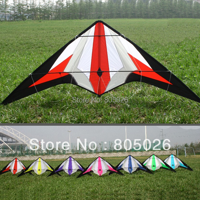 Free Shipping high quality seven swords 1.8m dual line stunt kites with handle line easy control various colors choose 2 5m huge dual line control soft frameless stunt parafoil flying kite plaid cloth made with 2 line board and 2 x 40m line
