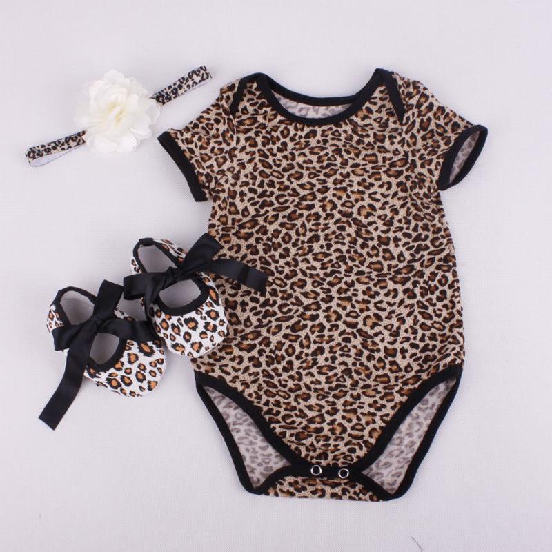 3PCS Set Newborn Infant Baby Boy Girl Clothes 2017 Summer Short Sleeve Leopard Floral Romper Bodysuit +Headband +Shoes Outfits