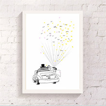 Wedding Car Hand Draw Balloon Canvas Guest Book With 2 Ink Pad Gift Customized Attendance Signature Art Poster for Bedroom Decor(China)