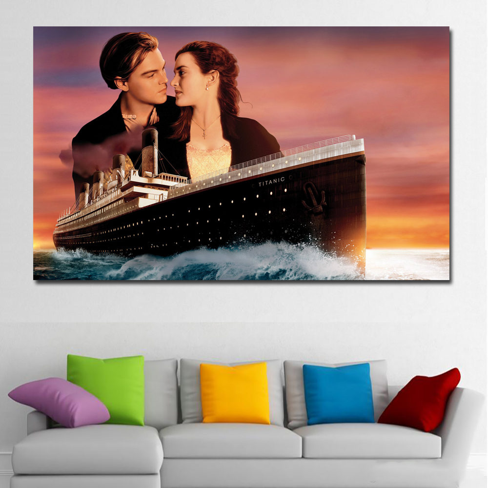 SELFLESSLY Kate Winslet <font><b>Leonardo</b></font> <font><b>Dicaprio</b></font> Titanic Canvas Art Print canvas <font><b>Painting</b></font> Home Decoration Wall Picture for Living Room image