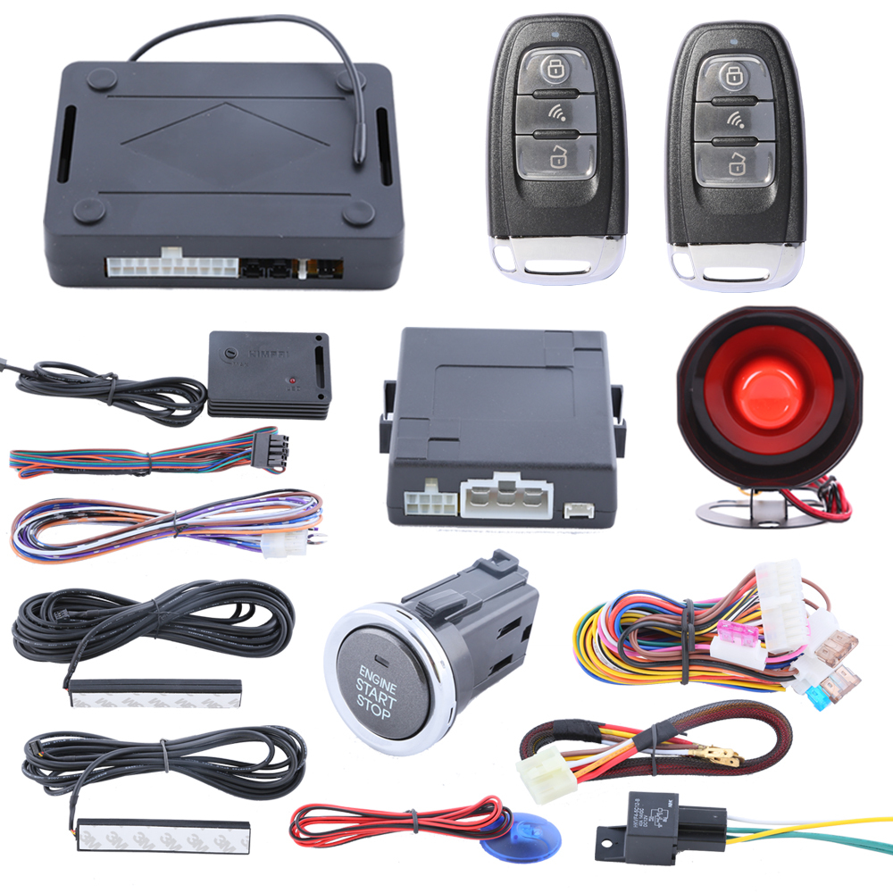 Rolling code passive keyless entry kit PKE car alarm system with push button start/stop and auto arm, power window output smart pke car alarm hopping code with remote start