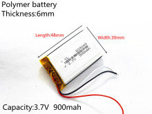 3 line  3.7V 900mAh 603048 Lithium Polymer Li-Po li ion Rechargeable Battery cells For Mp3 MP4 MP5 GPS  mobile bluetooth