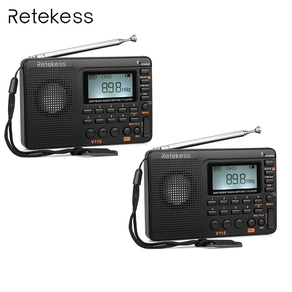 2pcs Retekess V115 FM/AM/SW Radio Receiver Bass Sound MP3 Player REC Voice Recorder with Sleep Timer Multiband Radio portable fm am sw radio multiband radio receiver bass sound mp3 player rec recorder portatil radio with sleep timer f9205a