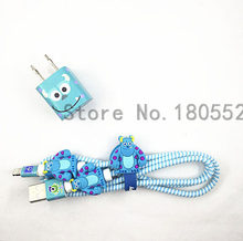 1.4M Cartoon USB Charger Cable Protector Diy Set with Cable Winder Charging stickers Spiral Cord protector For iphone 5 6 6s 7(China)