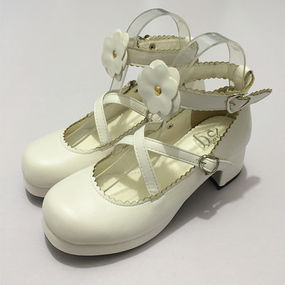 ФОТО White Sweet Maid Lolita Crude Muffin Heels Flowers Single Female Leather Shoes Buckle Strap womens shoes casual single shoes