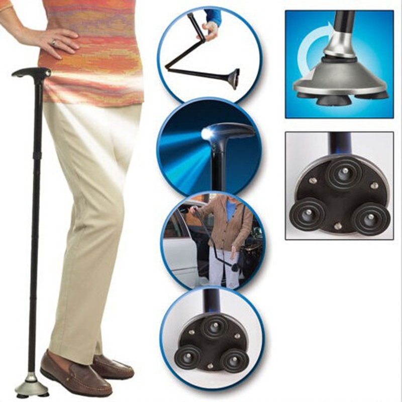 Free Shipping Folding Cane Sport Climbing Cane with Built-in Light Walking Cane The Old Man Cane Protection Safety Walking Stick baston trusty cane