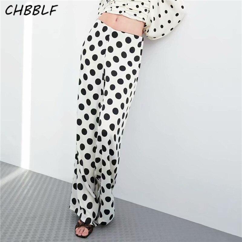 CHBBLF women retro dot prints   wide     leg     pants   zipper fly full length trousers summer casual   pants   BGB9109