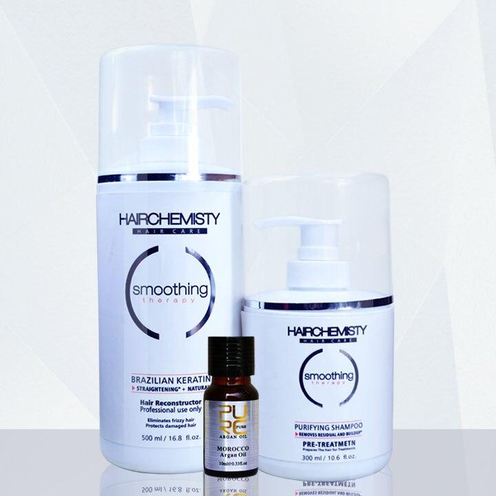 Kératine 500 ml 8% formaldéhyde redresser les cheveux soins des cheveux traitement et 300 ml shampooing purifiant avant de cheveux de kératine traitement