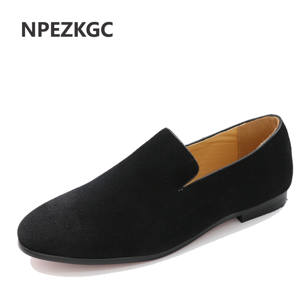NPEZKGC  British Style Fashion Suede PU Leather Men Loafers Slip on Men Driving Shoes Male Boat Flats Men moccasins hombre