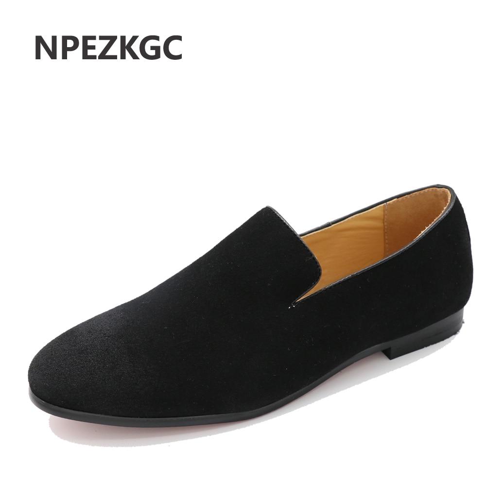 NPEZKGC British Style Fashion Suede PU Leather Men Loafers Slip on Men Driving Shoes Male Boat Flats Men moccasins hombre