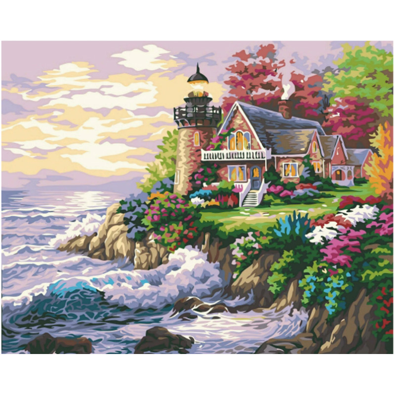 Lighthouse And Wave Hand Made Paint High Quality Canvas Beautiful Painting By Numbers Surprise Gift Great Accomplishment
