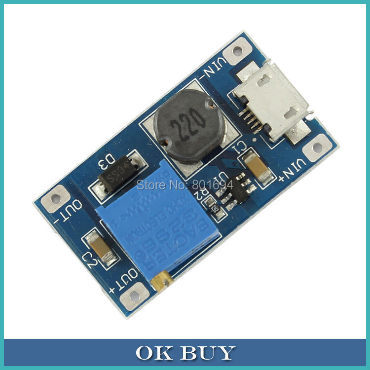 LM2577 DC-DC 2~24V To 5~28V 2A Vlotage Step-up Module MicroUSB Boost Converter High Conversion Efficiency dc dc adjustable boost module 2a boost plate 2a step up module with micro usb 2v 24v to 5v 9v 12v 28v