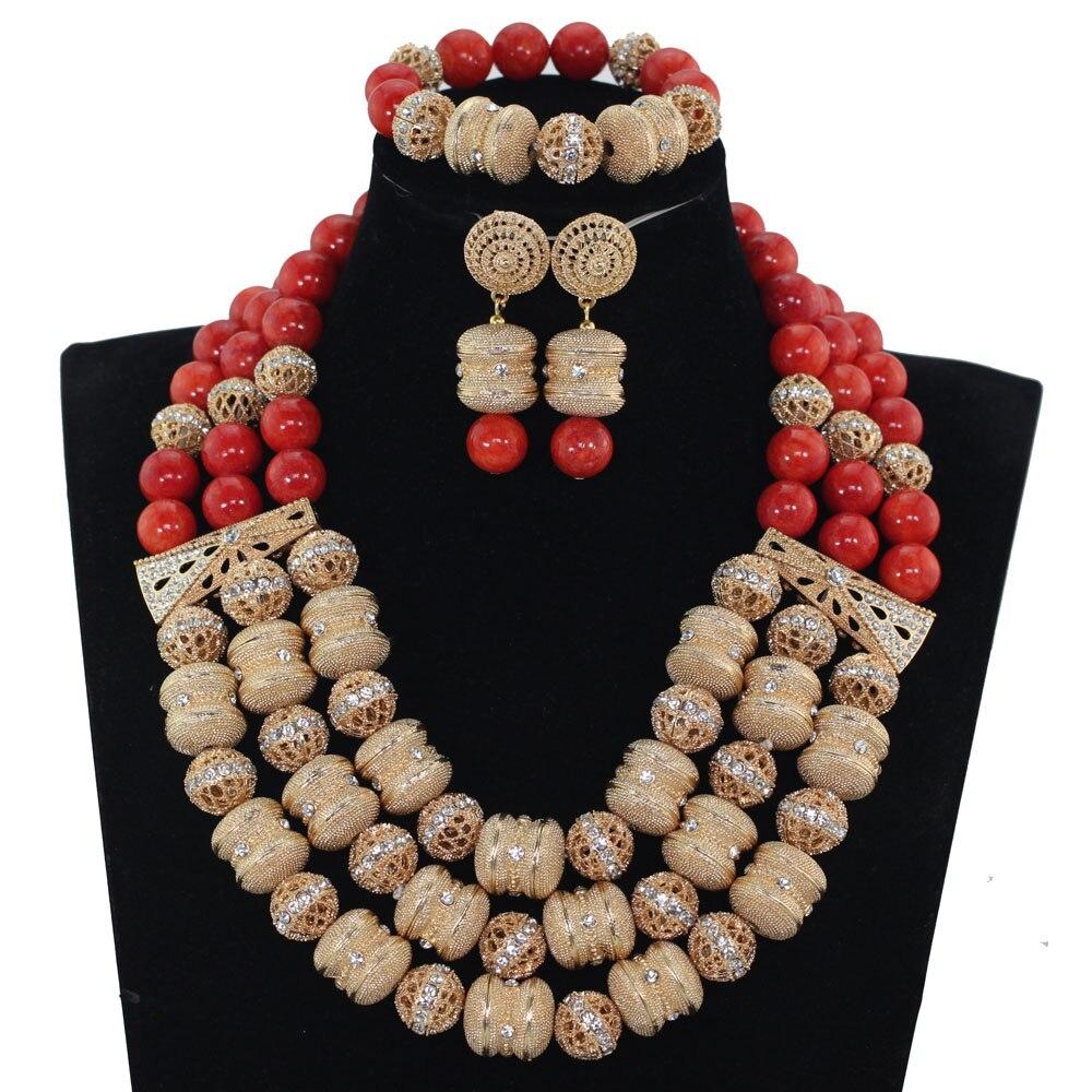 Здесь продается  African Red Coral Beads Bridal Jewelry Set Dubai Gold Women Costume Party Jewelry Set Birthday Gift Free Shipping WE094  Ювелирные изделия и часы