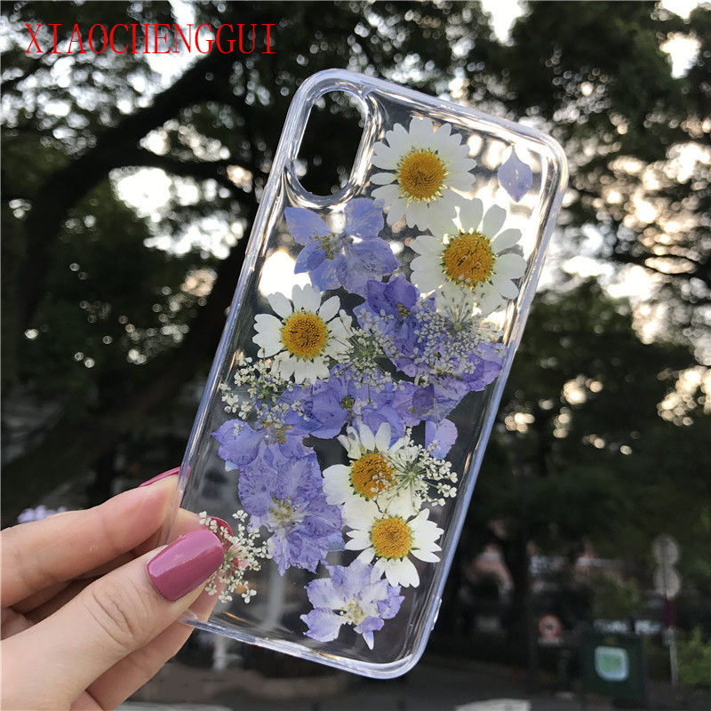 Clear Phone <font><b>Case</b></font> For <font><b>iPhone</b></font> X Fashion Real Dried Flower <font><b>Cases</b></font> Lovley Floral Back Cover For <font><b>iPhone</b></font> 8 <font><b>6S</b></font> 6 7 Plus XR XS 11 pro MAX image