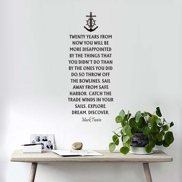 Nautical Quote Anchor Vinyl Wall Stickers Home Decor Words Wall Decals  Removable Self Adhesive Wallpaper Living