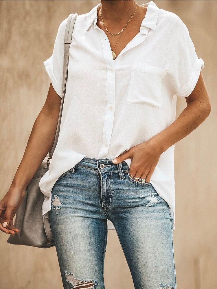 Algodão E Linho Bolsos Único Breasted Shirt Women 2019 Verão Turn-down Collar de Manga Curta T-shirt Ocasional Do Escritório do Sexo Feminino topos