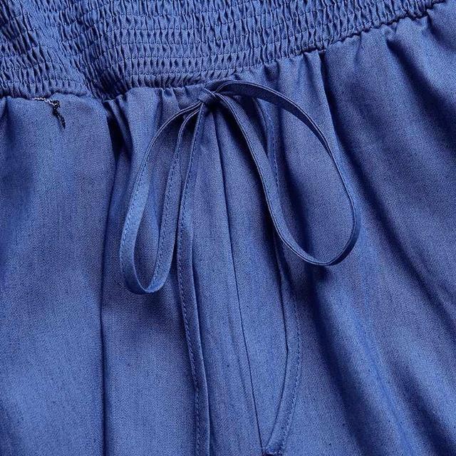 VONDA Casual Demin Rompers Women Jumpsuit Sexy Off Shoulder Playsuits Summer Bohemian Wide Leg Pants Office Overalls Plus Size