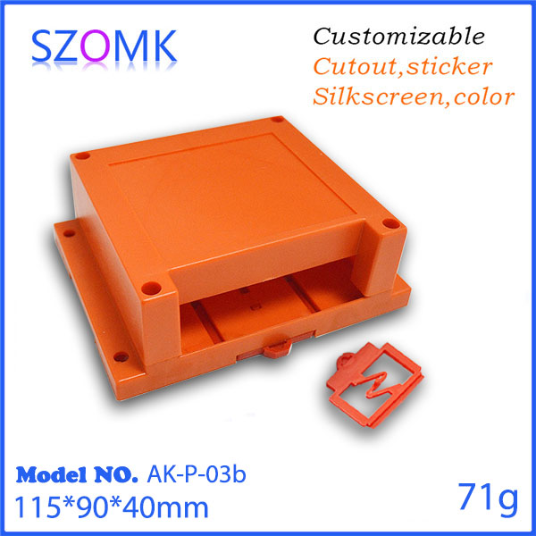 1 psc free shipping szomk abs plastic din rail housing pcb plastic junction box for electronics