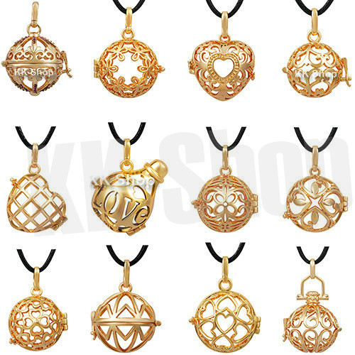 3pcs/lot 20mm Gold Angel Caller Locket fit 20mm ball harmony bola Pendant w/necklace