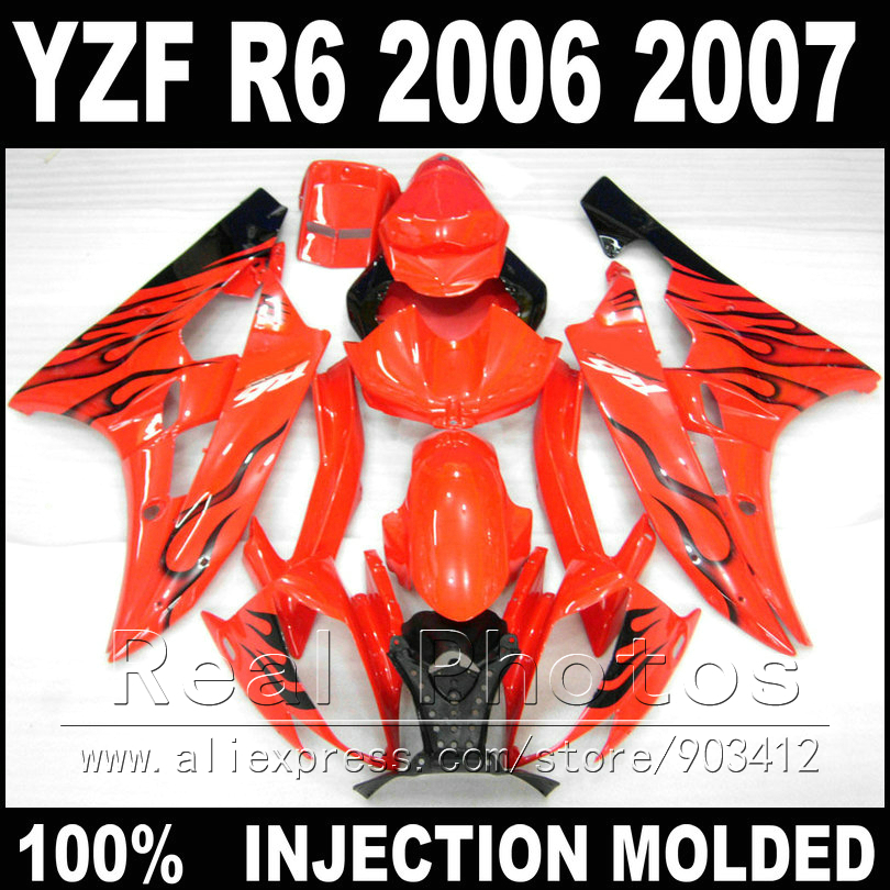 100% Fit bodywork for YAMAHA R6 fairing kit 06 07 Injection molding black flame in red 2006 2007 YZF R6 fairings yamaha yrs311iii in c