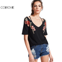 COLROVIE Vintage Strappy T Shirt Women Black Black Rose Patch Sexy V Neck Summer Tops 2017