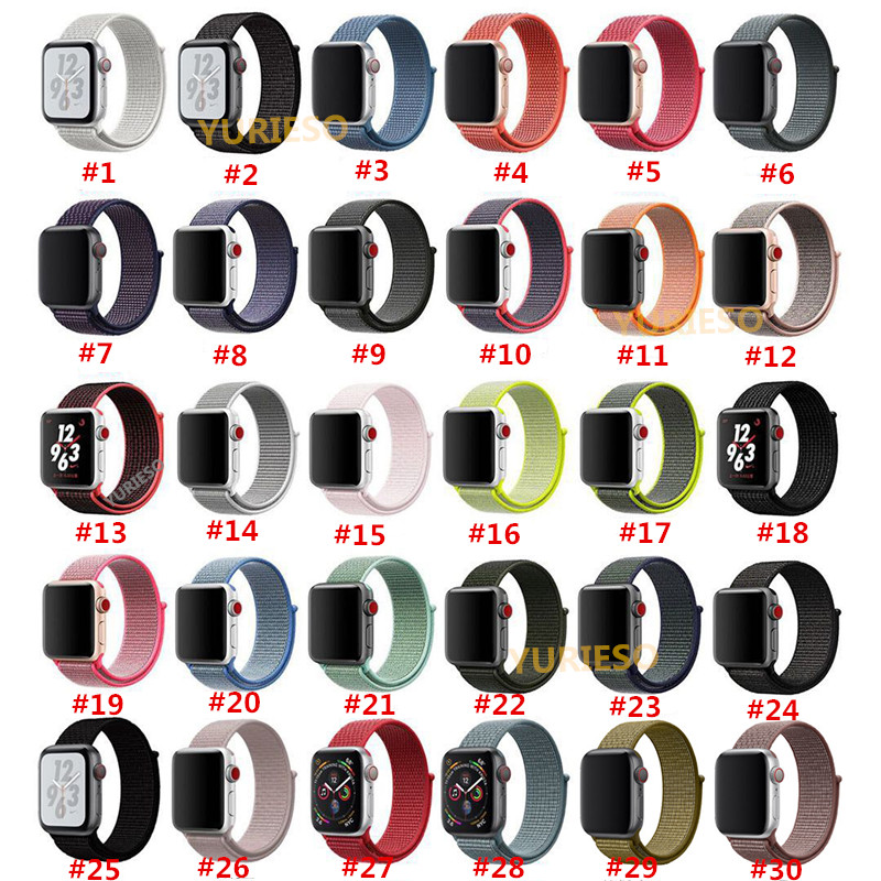 200PCS 42mm 38mm Colorful Sport Nylon Loop Watch Strap For Apple Watch Band iWatch Series 4