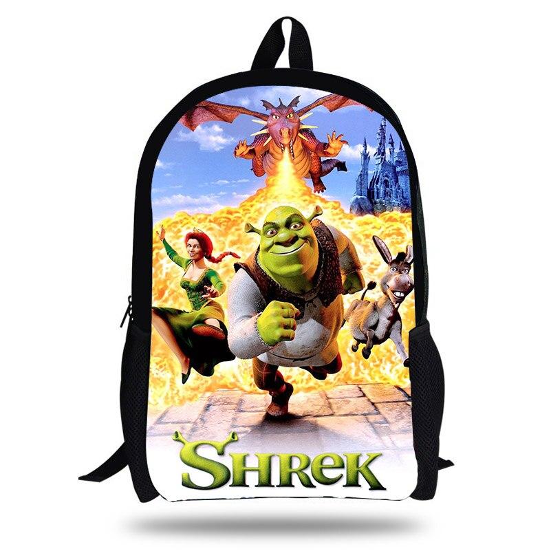 KOLLEGG New Designer Children School Bags Student Boy Schoolbag Cartoon Shrek Print Backpack For Teenage Girls Bookbag