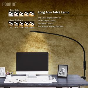Image 2 - Long Arm Table Lamp Clip Office Led Desk Lamp Remote Control Eye protected Lamp For Bedroom Led Light 5 Level Brightness&Color