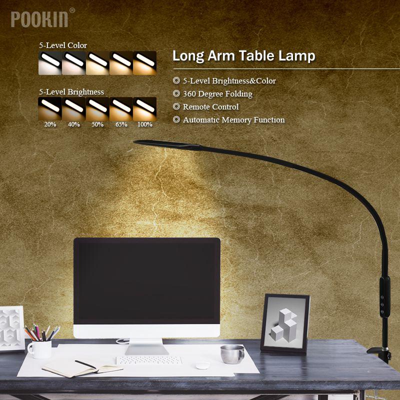 Long Bras Lampe de Table Clip Bureau LED Lampe de Bureau Télécommande Eye-protégée Lampe Pour Chambre LED Lumière 5 -niveau Luminosité et Couleur - 2