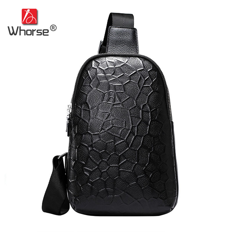 [WHORSE] Brand Luxury Genuine Leather Men Crossbody Chest Pack Bag Mens Cowhide Messenger Bags Small Black Coffee W0010 2016 new brand design fashion black genuine leather bag chest pack men messenger bags shoulder bags